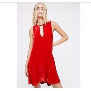 Free People Red Velvet Dress